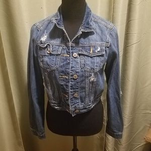 Hollister Distressed Crop Denim Jacket